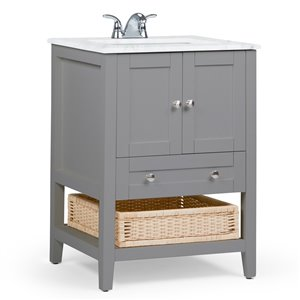 SIMPLI HOME Cape Cod Bath Vanity with White Engineered Quartz Marble Top - 24-in