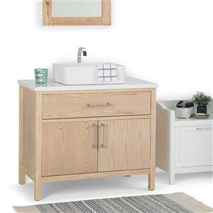 SIMPLI HOME Patton Bath Vanity with White Engineered Quartz Marble Top - 36-in