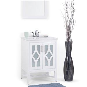 SIMPLI HOME Bristol Bath Vanity with Carrara White Engineered Quartz Marble Top - 24-in