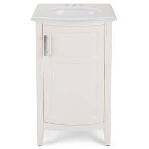 SIMPLI HOME Winston Rounded Front Bath Vanity White Engineered Quartz Marble Top - 20-in