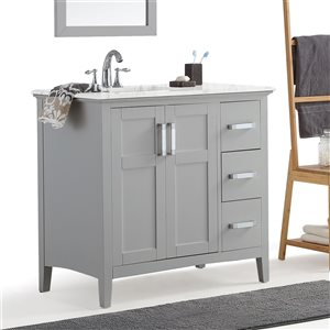 SIMPLI HOME Winston Left Offset Bath Vanity White Engineered Quartz Marble Top - 36-in
