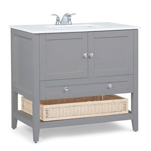 SIMPLI HOME Cape Cod Bath Vanity with White Engineered Quartz Marble Top - 36-in