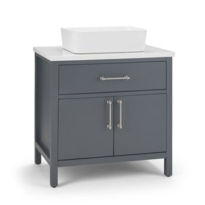 SIMPLI HOME Patton Bath Vanity with White Engineered Quartz Marble Top - 30-in