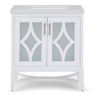SIMPLI HOME Bristol Bath Vanity with Carrara White Engineered Quartz Marble Top - 30-in