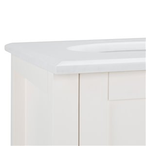 SIMPLI HOME Cape Cod Bath Vanity with White Engineered Quartz Marble Top - 20-in