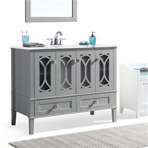 SIMPLI HOME Paige Bath Vanity with White Engineered Quartz Marble Top - 42-in