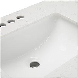 SIMPLI HOME Bristol Bath Vanity with Carrara White Engineered Quartz Marble Top - 48-in