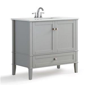 SIMPLI HOME Chelsea Bath Vanity with White Engineered Quartz Marble Top - 36-in