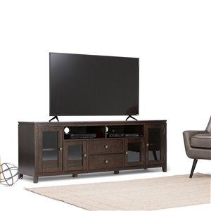 SIMPLI HOME Cosmopolitan Wide TV Media Stand - Coffee Brown - 72-in