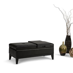 SIMPLI HOME Oregon Storage Ottoman Bench with Tray - Midnight Black - 19.7-in x 43-in