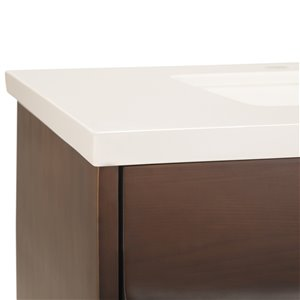 SIMPLI HOME Marlowe  Bath Vanity with Light Grey Veined Engineered Quartz Marble Top - 30-in
