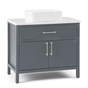 SIMPLI HOME Patton Bath Vanity with White Engineered Quartz Marble Top - 36-in