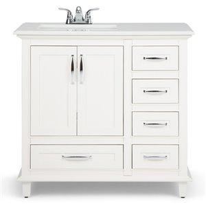 SIMPLI HOME Ariana Left Offset Bath Vanity White Engineered Quartz Marble Top - 36-in