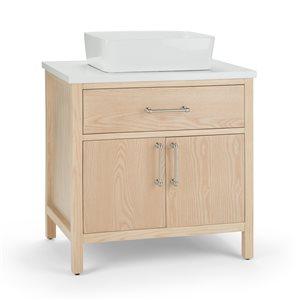 SIMPLI HOME Patton Bath Vanity with White Engineered Quartz Marble Top - 30-in