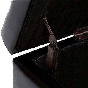 SIMPLI HOME Hamilton Storage Ottoman - Midnight Black - 17.7-in x 48-in