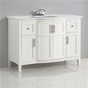 SIMPLI HOME Winston Rounded Front Bath Vanity White Engineered Quartz Marble Top - 48-in