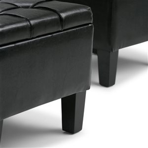 SIMPLI HOME Dover 3 Piece Storage Ottoman - Rectangular and Square - Midnight Black