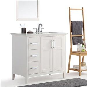 SIMPLI HOME Winston Right Offset Bath Vanity White Engineered Quartz Marble Top - 36-in