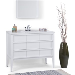 SIMPLI HOME Russo Bath Vanity with White Veined Engineered Quartz Marble Top - 42-in