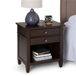 SIMPLI HOME Carlton Bedside Table - 2-Drawer - Brown Tobacco - 24-in x 16-in x 24-in