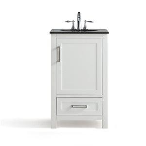 SIMPLI HOME Evan Bath Vanity with Black Granite Top - 20-in