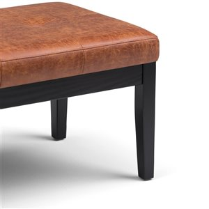 SIMPLI HOME Lacey Tufted Ottoman Bench - Distressed Saddle Brown - 42.5-in