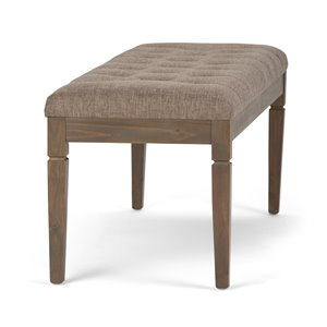 SIMPLI HOME Waverly Tufted Ottoman Bench - Fawn Brown - 48-in
