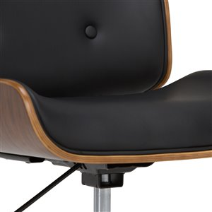 SIMPLI HOME Dax Bentwood Office Chair - 5-Wheels - Black and Natural Wood