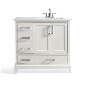 SIMPLI HOME Elise Right Offset Bath Vanity White Engineered Quartz Marble Top - 36-in