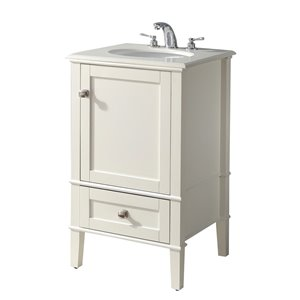 SIMPLI HOME Chelsea Bath Vanity with White Engineered Quartz Marble Top - 20-in