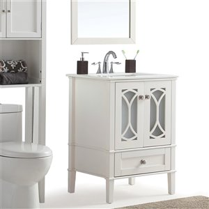 SIMPLI HOME Paige Bath Vanity with White Engineered Quartz Marble Top - 24-in