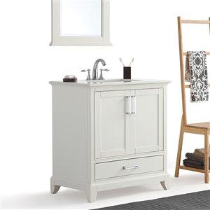 SIMPLI HOME Elise Bath Vanity White Engineered Quartz Marble Top - 30-in