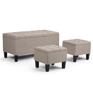 SIMPLI HOME Dover 3 Piece Storage Ottoman - Natural - 19.5-in x 44-in