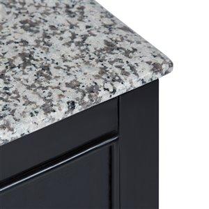 SIMPLI HOME Burnaby Bath Vanity with Dappled Grey Granite Top - 24-in
