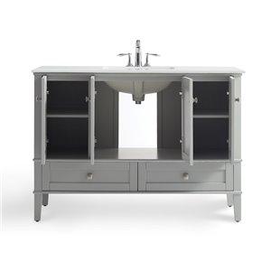 SIMPLI HOME Chelsea Bath Vanity with White Engineered Quartz Marble Top - 48-in