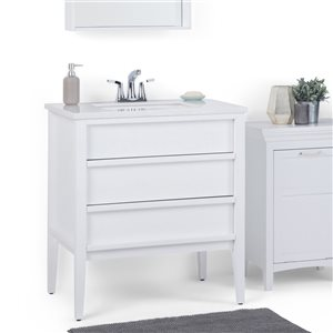 SIMPLI HOME Russo Bath Vanity with White Veined Engineered Quartz Marble Top - 30-in