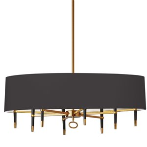 Dainolite Langford Pendant Light - 8-Light - 45-in x 17-in - Vintage Bronze/Black