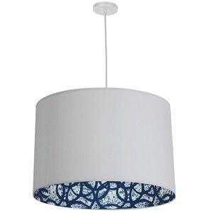 Dainolite Kate Pendant Light - 3-Light - 24-in x 15-in - Matte White/Blue