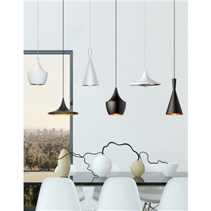 Dainolite Helsinki Pendant Light - 1-Light - 14-in x 7-in - Matte Black