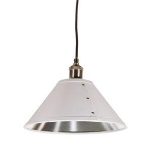 Dainolite Fayette Pendant Light - 1-Light - 12-in x 8-in - White/Silver