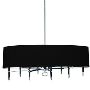 Dainolite Langford Pendant Light - 8-Light - 45-in x 17-in - Chrome/Black