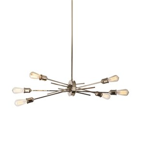 Dainolite Nebraska Pendant Light - 6-Light - 16-in x 16-in - Chrome