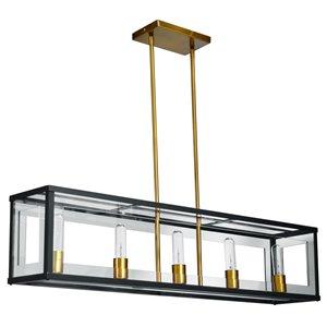 Dainolite Highgate Pendant Light - 5-Light - 38-in x 9-in - Matte Black/Vintage Bronze
