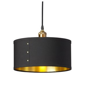 Dainolite Fayette Pendant Light - 1-Light - 12-in x 8.5-in - Black/Gold