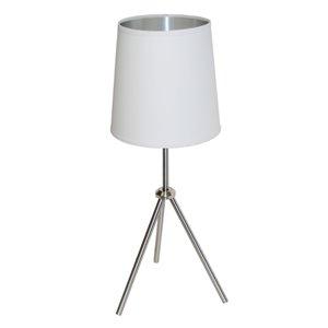 Dainolite Oversized Drum Table Lamp - 1-Light - 28.5-in - Satin Chrome/White