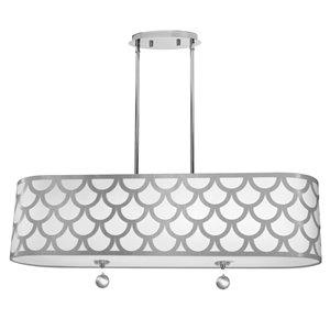 Dainolite Hannah Pendant Light - 4-Light - 35-in x 9-in - White/Silver