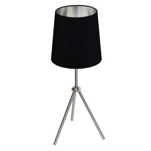 Dainolite Oversized Drum Table Lamp - 1-Light - 28.5-in - Satin Chrome
