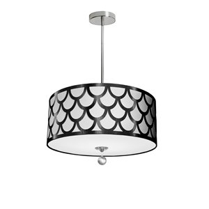 Dainolite Hannah Pendant Light - 4-Light - 19-in x 7-in - Black/White