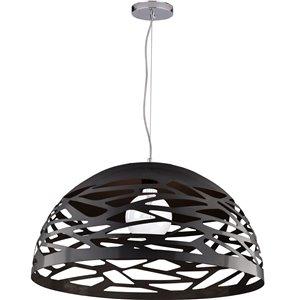 Dainolite Coral Pendant Light - 1-Light - 20-in x 10.75-in - Matte Black