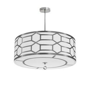 Dainolite Pembroke Pendant Light - 4-Light - 24-in x 8-in - Silver/White